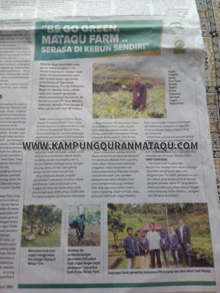 Semi Advertorial MataQu Farm di Harian Radar Bogor, Ahad, 15 April 2018